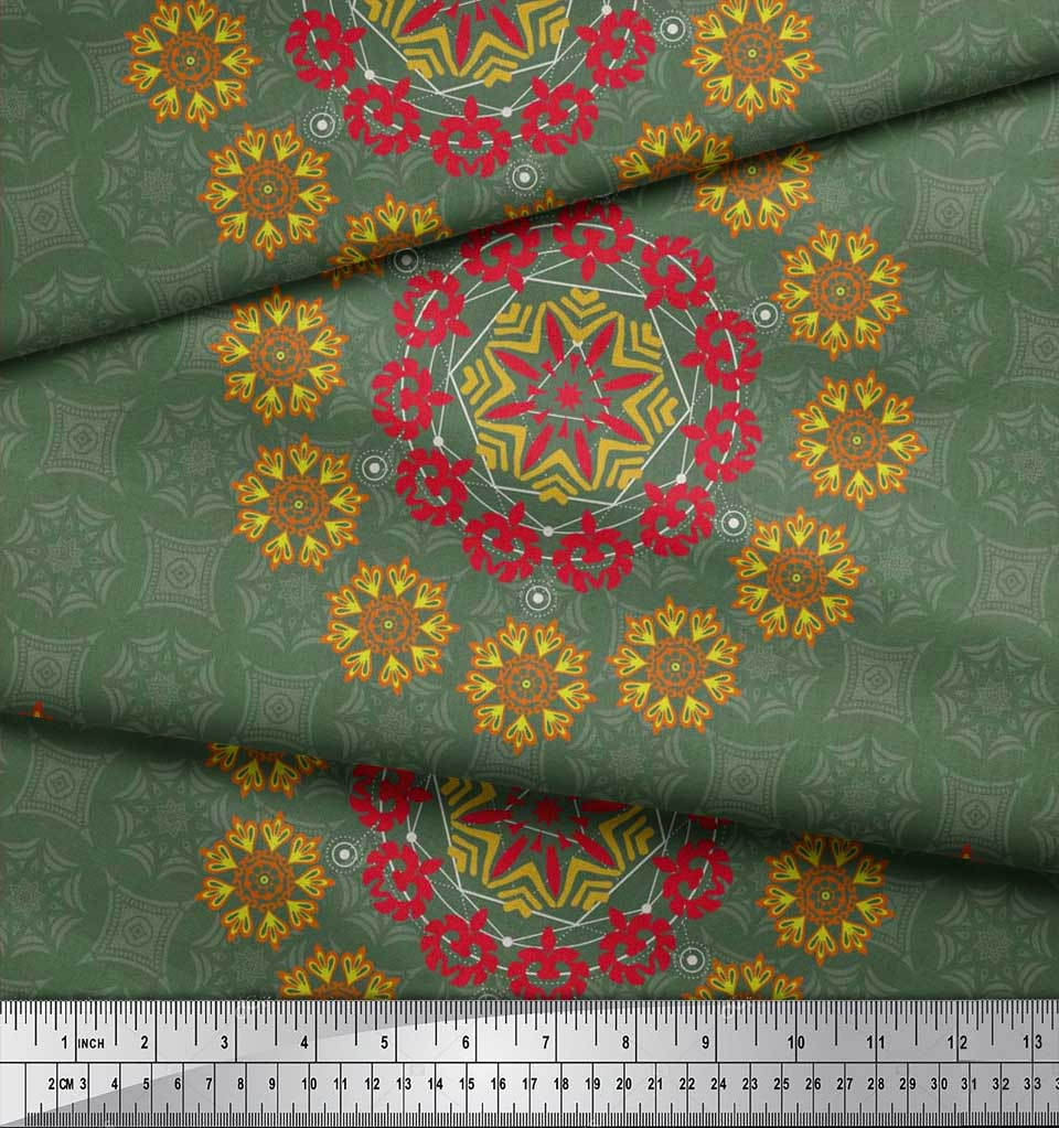 Soimoi-Fabric-Damask-amp-Mandala-Decorative-Print-Sewing-Fabric-BTY-DC-510E thumbnail 4