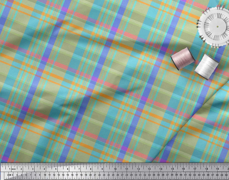 Soimoi-Cotton-Poplin-Fabric-Gingham-Check-Print-Fabric-by-the-metre-Cyn thumbnail 3