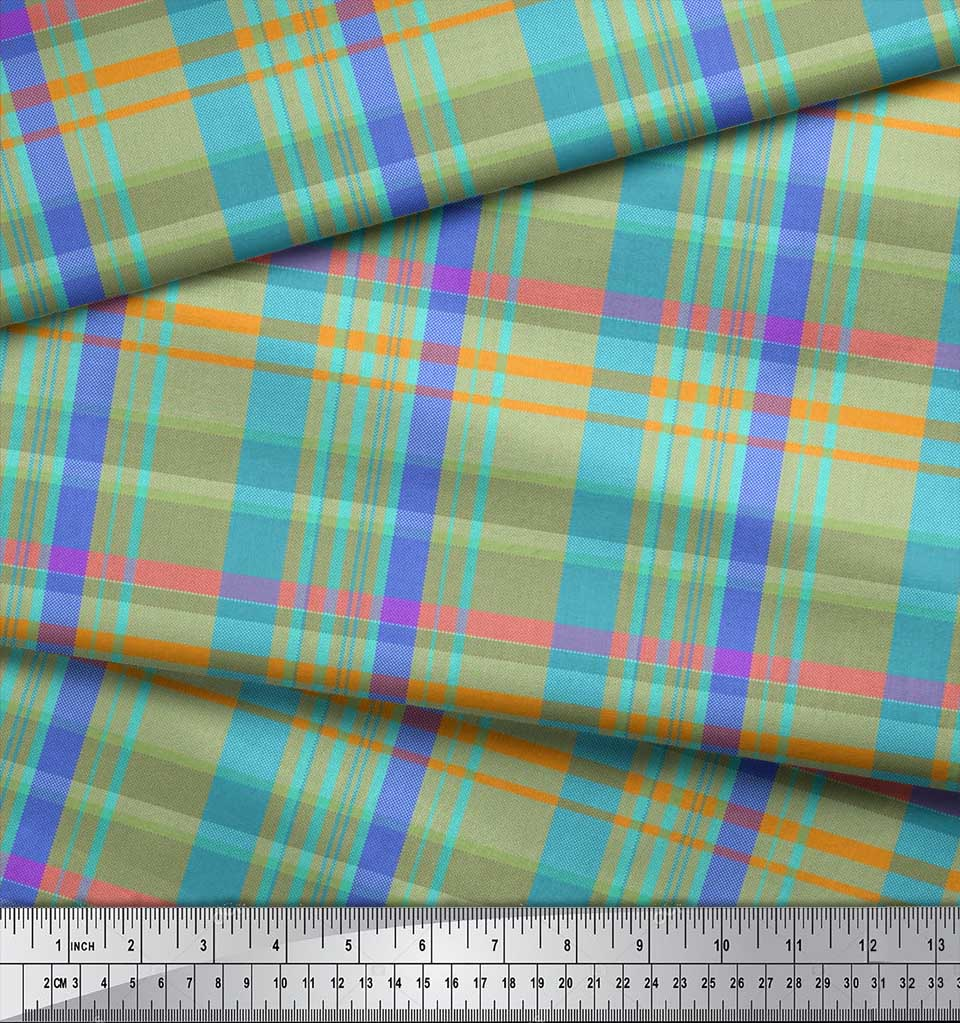 Soimoi-Cotton-Poplin-Fabric-Gingham-Check-Print-Fabric-by-the-metre-Cyn thumbnail 4