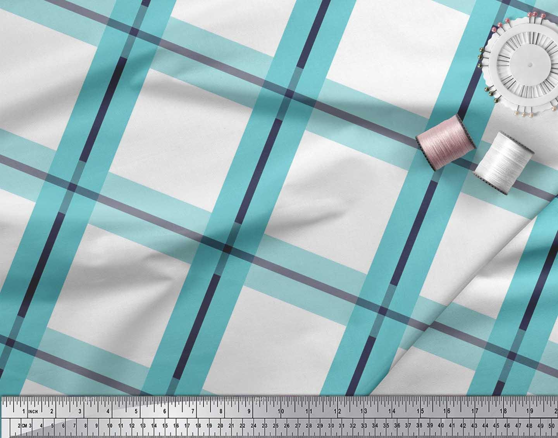 Soimoi-Blue-Cotton-Poplin-Fabric-Plaid-Check-Printed-Craft-Fabric-Mor thumbnail 4