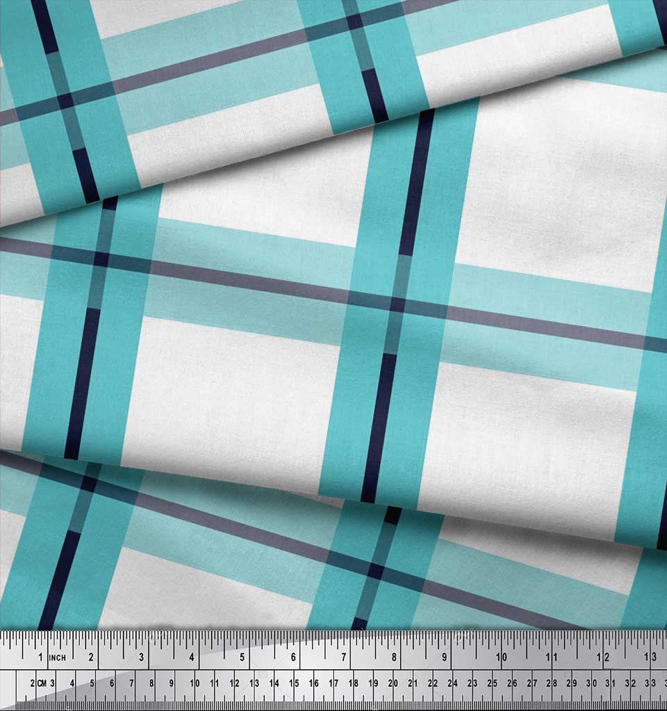 Soimoi-Blue-Cotton-Poplin-Fabric-Plaid-Check-Printed-Craft-Fabric-Mor thumbnail 3