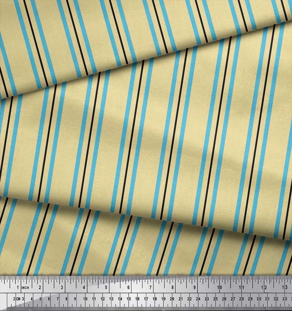 Soimoi-Cotton-Poplin-Fabric-Stripes-Stripe-Decor-Fabric-Printed-FA4 thumbnail 3