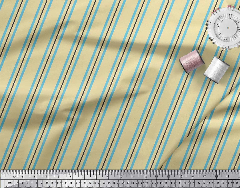 Soimoi-Cotton-Poplin-Fabric-Stripes-Stripe-Decor-Fabric-Printed-FA4 thumbnail 4