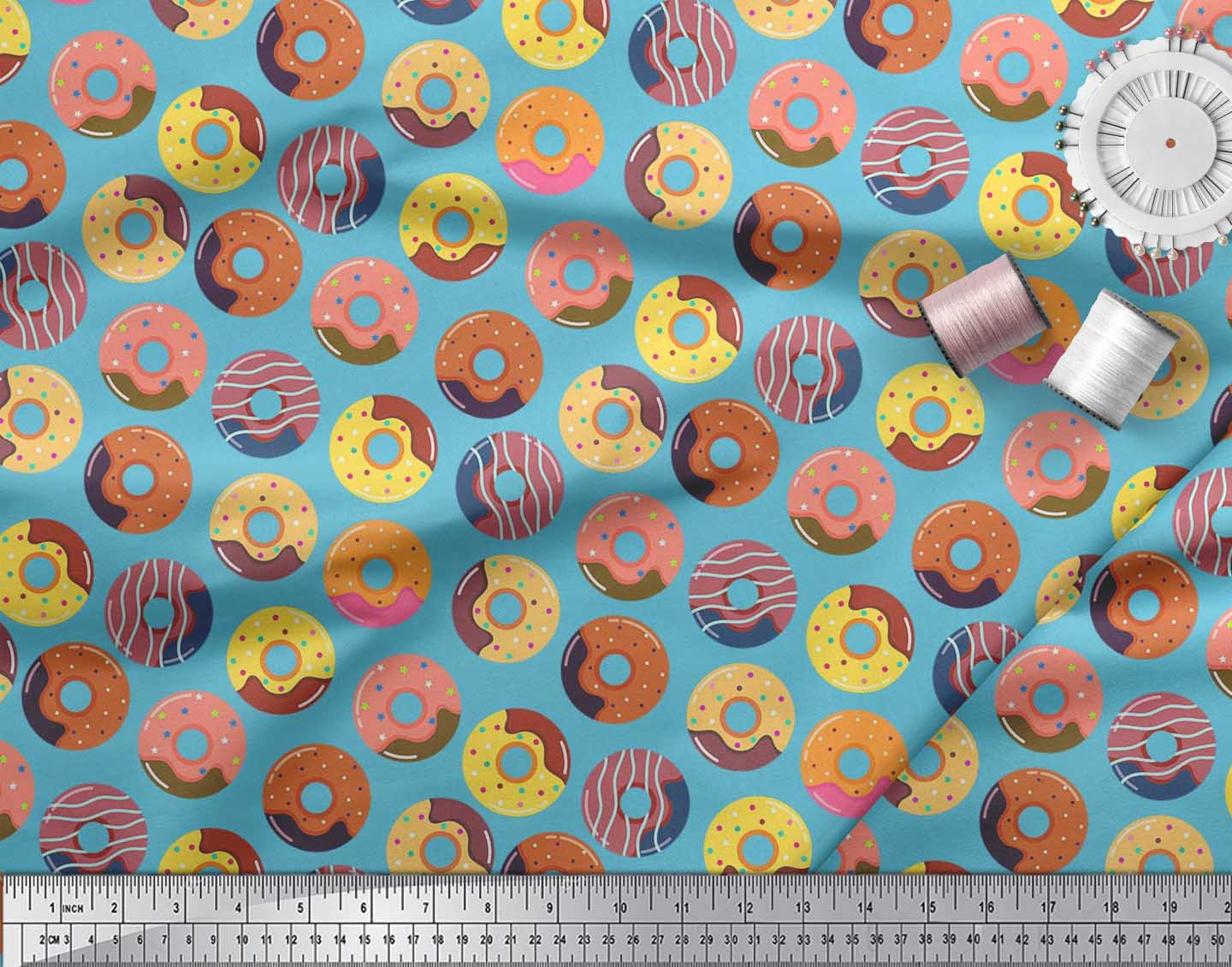 Soimoi-Cotton-Poplin-Fabric-Donuts-Food-Print-Fabric-by-metre-42-ZgL thumbnail 3
