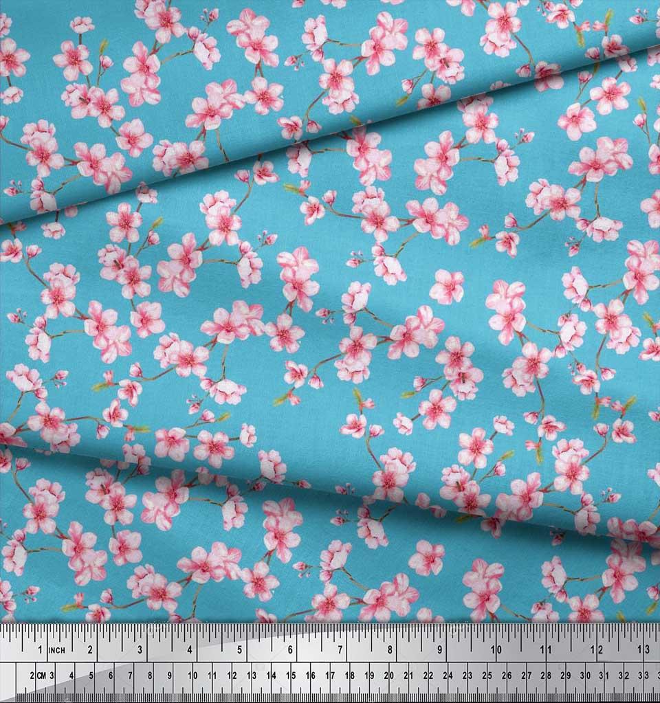 Soimoi-Blue-Cotton-Poplin-Fabric-Blossom-Floral-Print-Sewing-Fabric-Hng thumbnail 3
