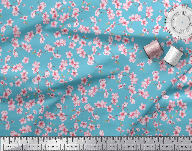 Soimoi-Blue-Cotton-Poplin-Fabric-Blossom-Floral-Print-Sewing-Fabric-Hng thumbnail 4