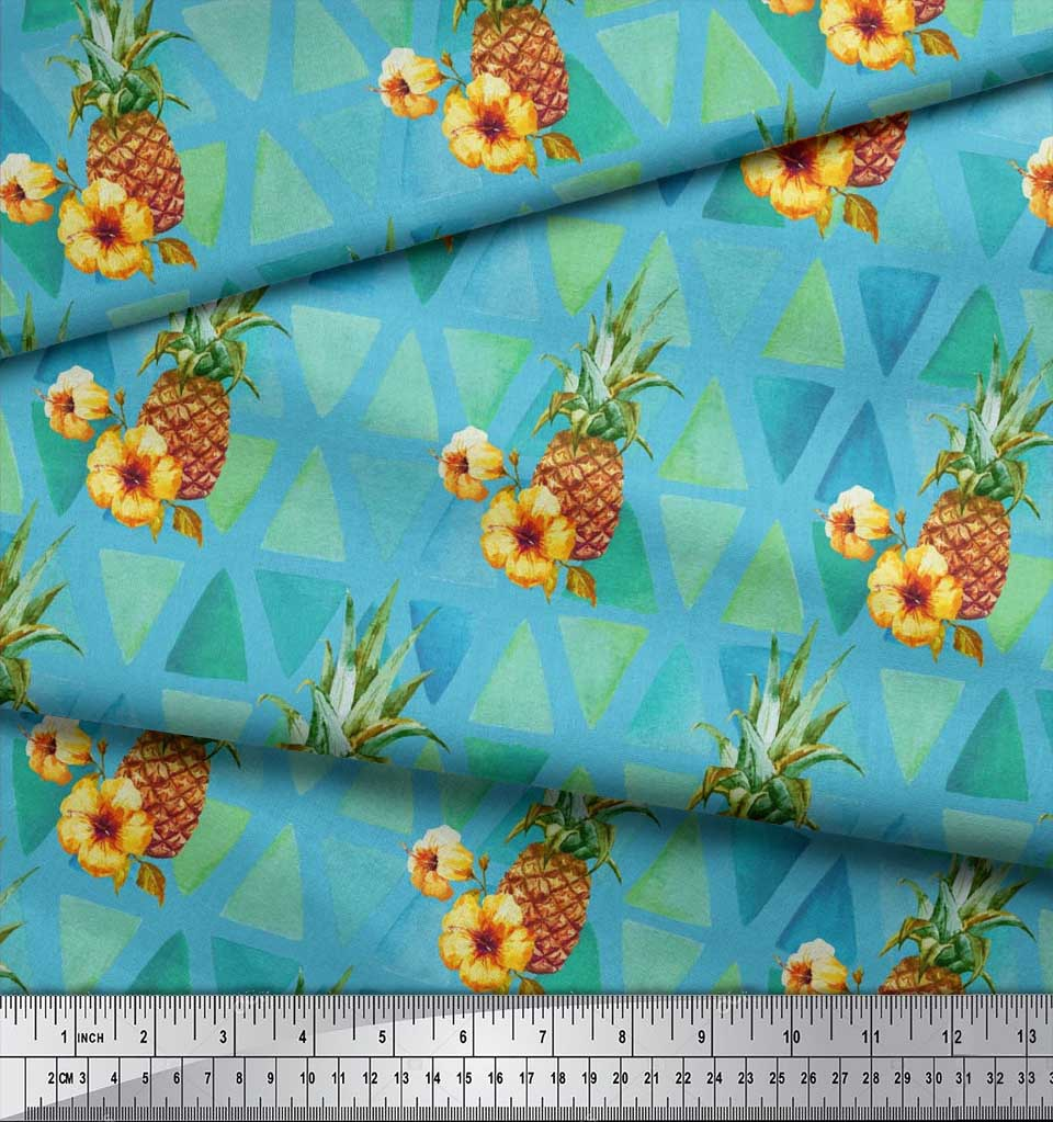 Soimoi-Blue-Cotton-Poplin-Fabric-Triangle-amp-Pine-Fruits-Print-Sewing-8f1 thumbnail 4