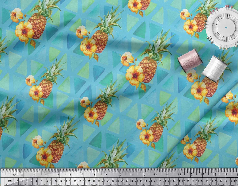 Soimoi-Blue-Cotton-Poplin-Fabric-Triangle-amp-Pine-Fruits-Print-Sewing-8f1 thumbnail 3