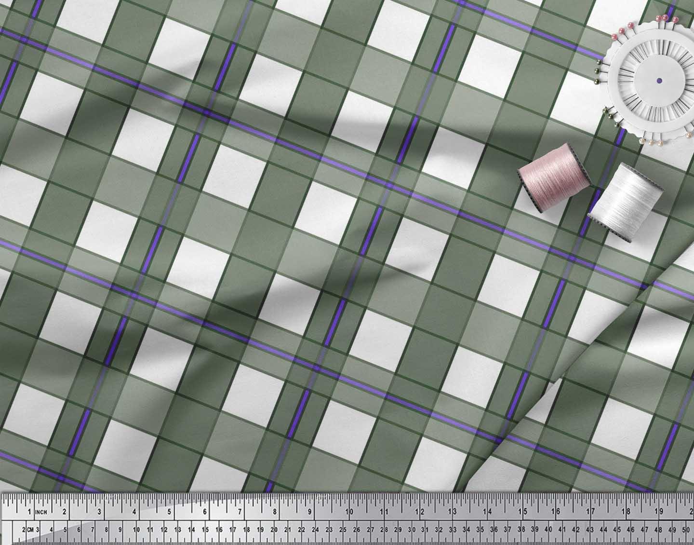 Soimoi-Green-Cotton-Poplin-Fabric-Gingham-Check-Printed-Fabric-1-k5b thumbnail 3