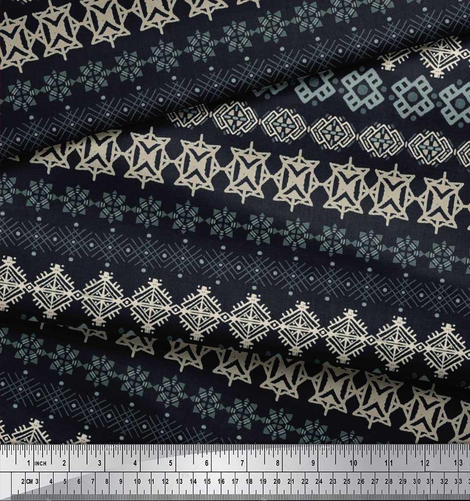 Soimoi-Cotton-Poplin-Fabric-Aztec-Geometric-Printed-Craft-Fabric-9Og thumbnail 4