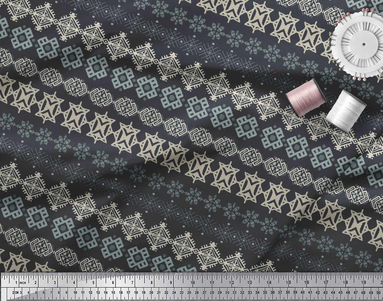 Soimoi-Cotton-Poplin-Fabric-Aztec-Geometric-Printed-Craft-Fabric-9Og thumbnail 3