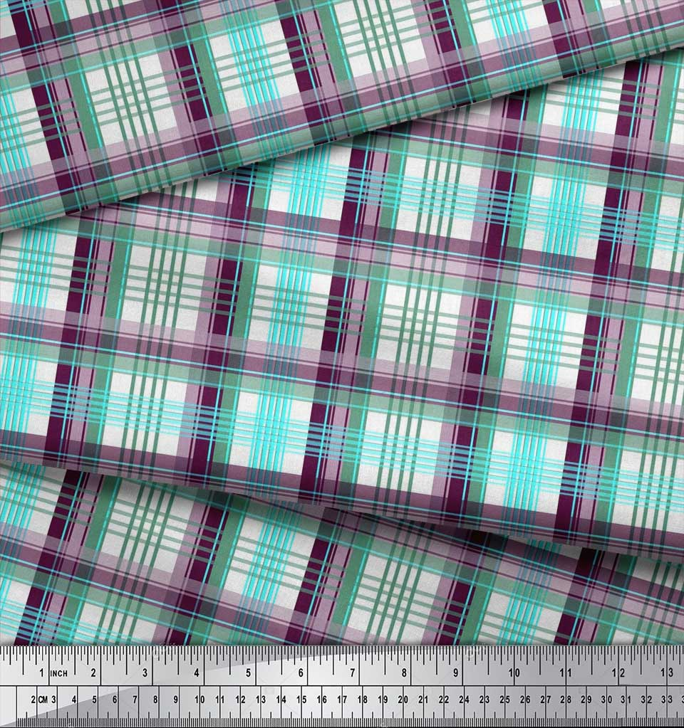 Soimoi-Pink-Cotton-Poplin-Fabric-Gingham-Check-Print-Fabric-by-metre-7if thumbnail 4