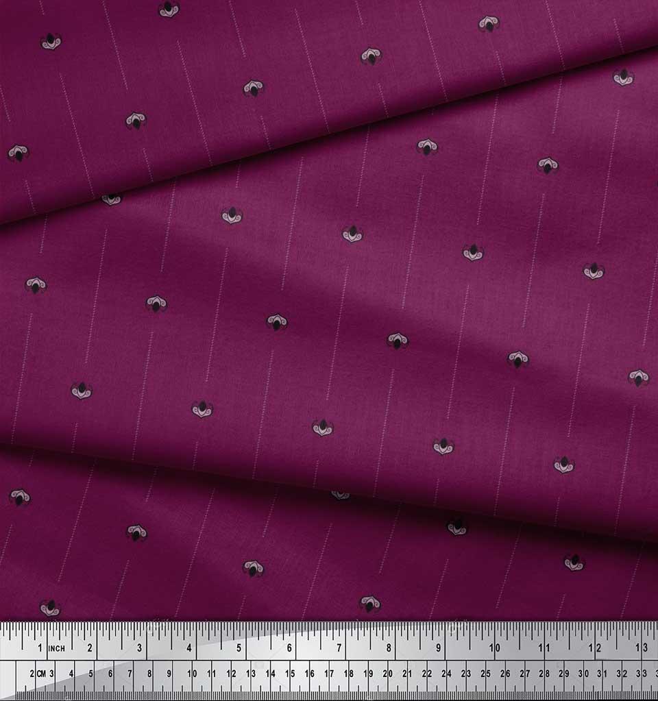 Soimoi-Cotton-Poplin-Fabric-Damask-Block-Fabric-Prints-By-metre-bc8 thumbnail 4