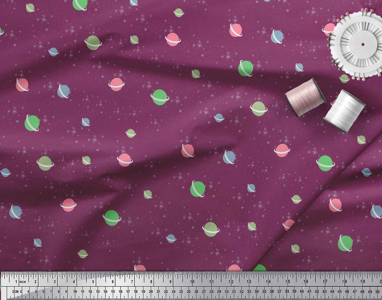 Soimoi-Cotton-Poplin-Fabric-Star-amp-Planet-Galaxy-Decor-Fabric-Printed-8CN thumbnail 3