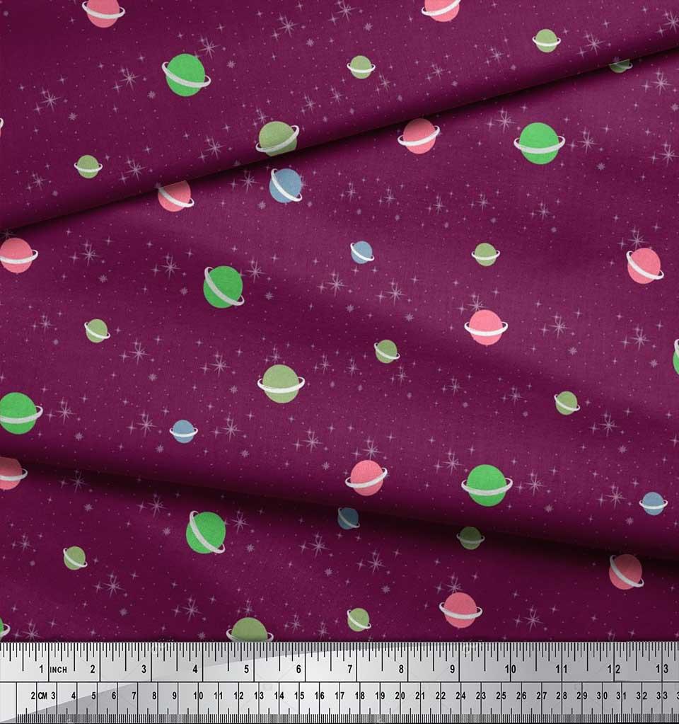 Soimoi-Cotton-Poplin-Fabric-Star-amp-Planet-Galaxy-Decor-Fabric-Printed-8CN thumbnail 4