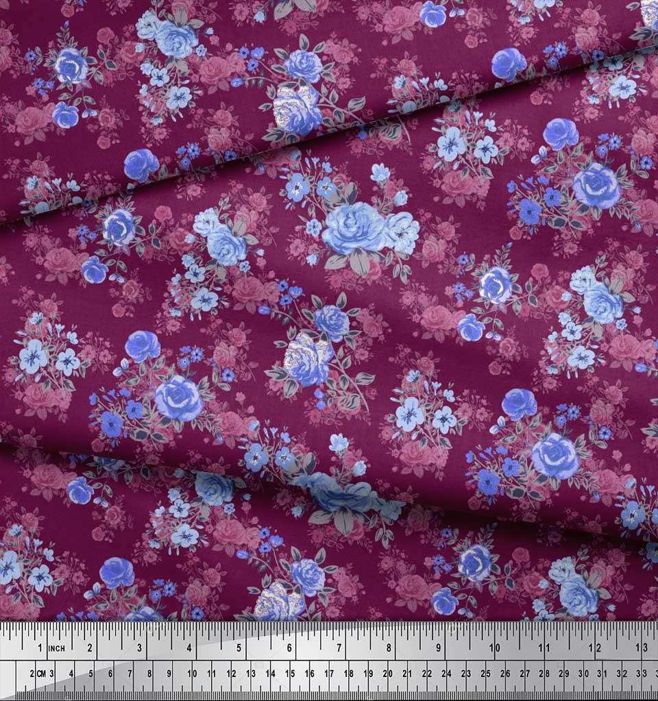 Soimoi-Cotton-Poplin-Fabric-Leaves-amp-Begonia-Floral-Decor-Fabric-z40 thumbnail 3