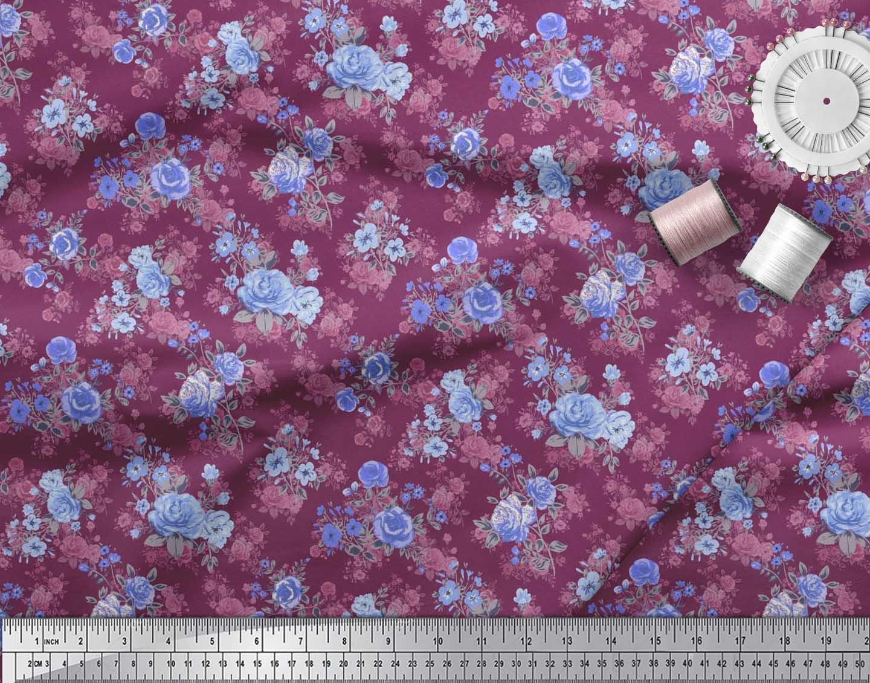 Soimoi-Cotton-Poplin-Fabric-Leaves-amp-Begonia-Floral-Decor-Fabric-z40 thumbnail 4