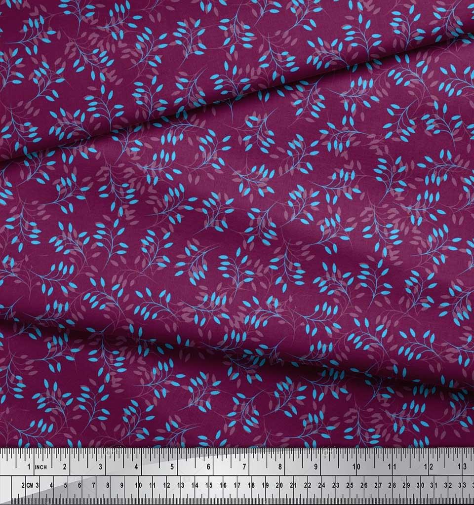 Soimoi-Cotton-Poplin-Fabric-Artistic-Leaves-Printed-Fabric-1-metre-xzN thumbnail 3