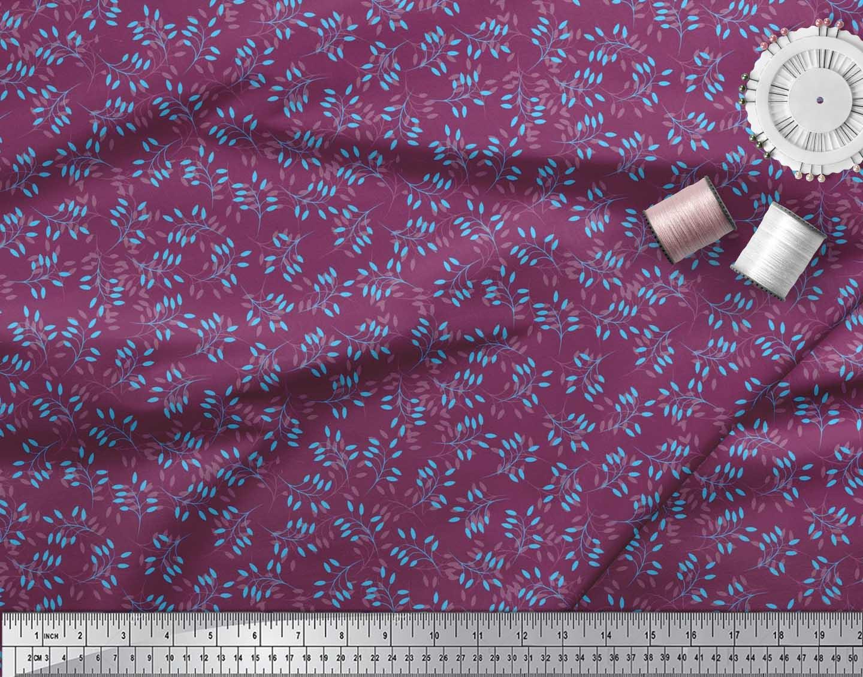 Soimoi-Cotton-Poplin-Fabric-Artistic-Leaves-Printed-Fabric-1-metre-xzN thumbnail 4