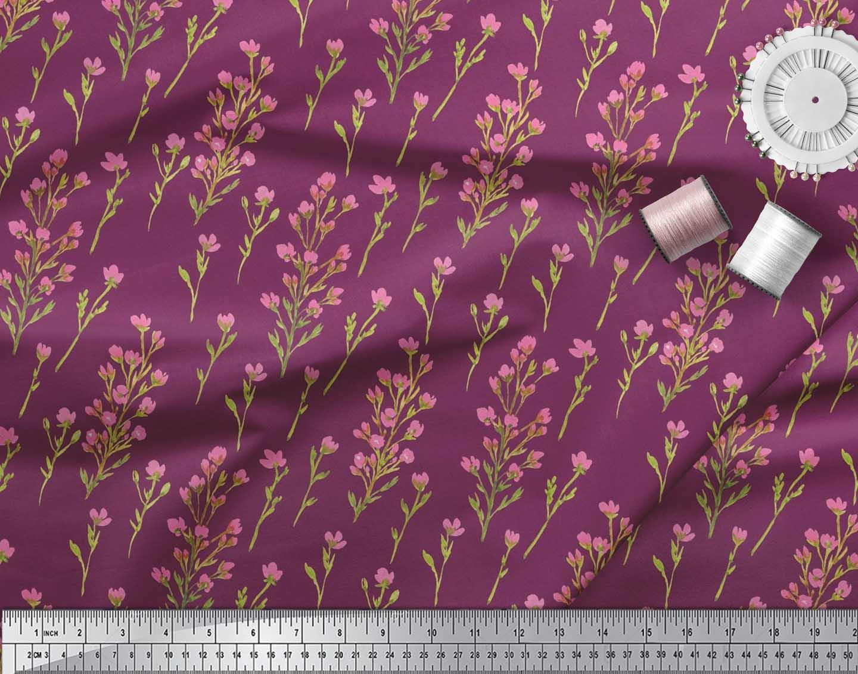 Soimoi-Cotton-Poplin-Fabric-Flower-Watercolor-Printed-Craft-Fabric-vhV thumbnail 4