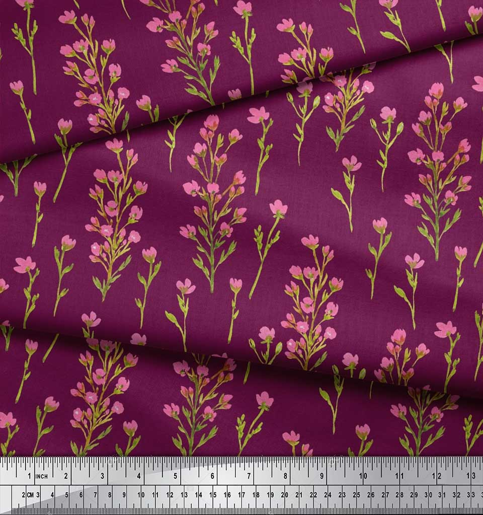 Soimoi-Cotton-Poplin-Fabric-Flower-Watercolor-Printed-Craft-Fabric-vhV thumbnail 3