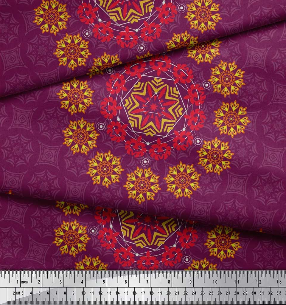 Soimoi-Fabric-Damask-amp-Mandala-Decorative-Print-Sewing-Fabric-BTY-DC-510E thumbnail 25