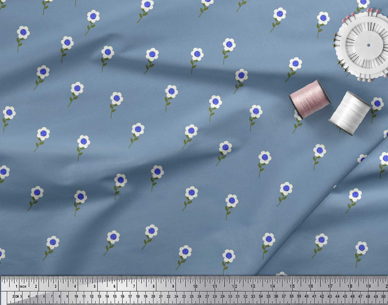 Soimoi-Blue-Cotton-Poplin-Fabric-Artistic-Floral-Printed-Craft-Fabric-uMr thumbnail 4