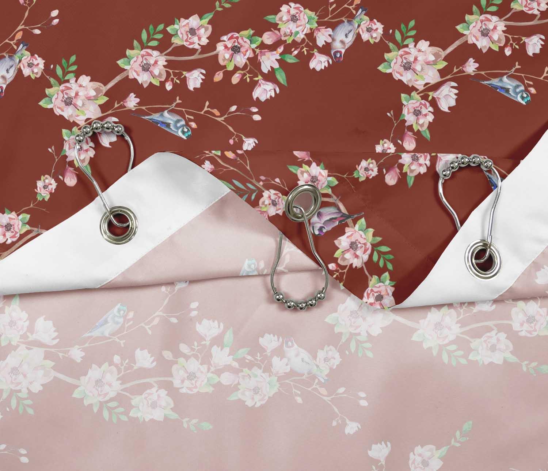 miniature 21 - S4Sassy Noir fleur et chardonneret oiseau rideaux de douche imprim?s-JpP