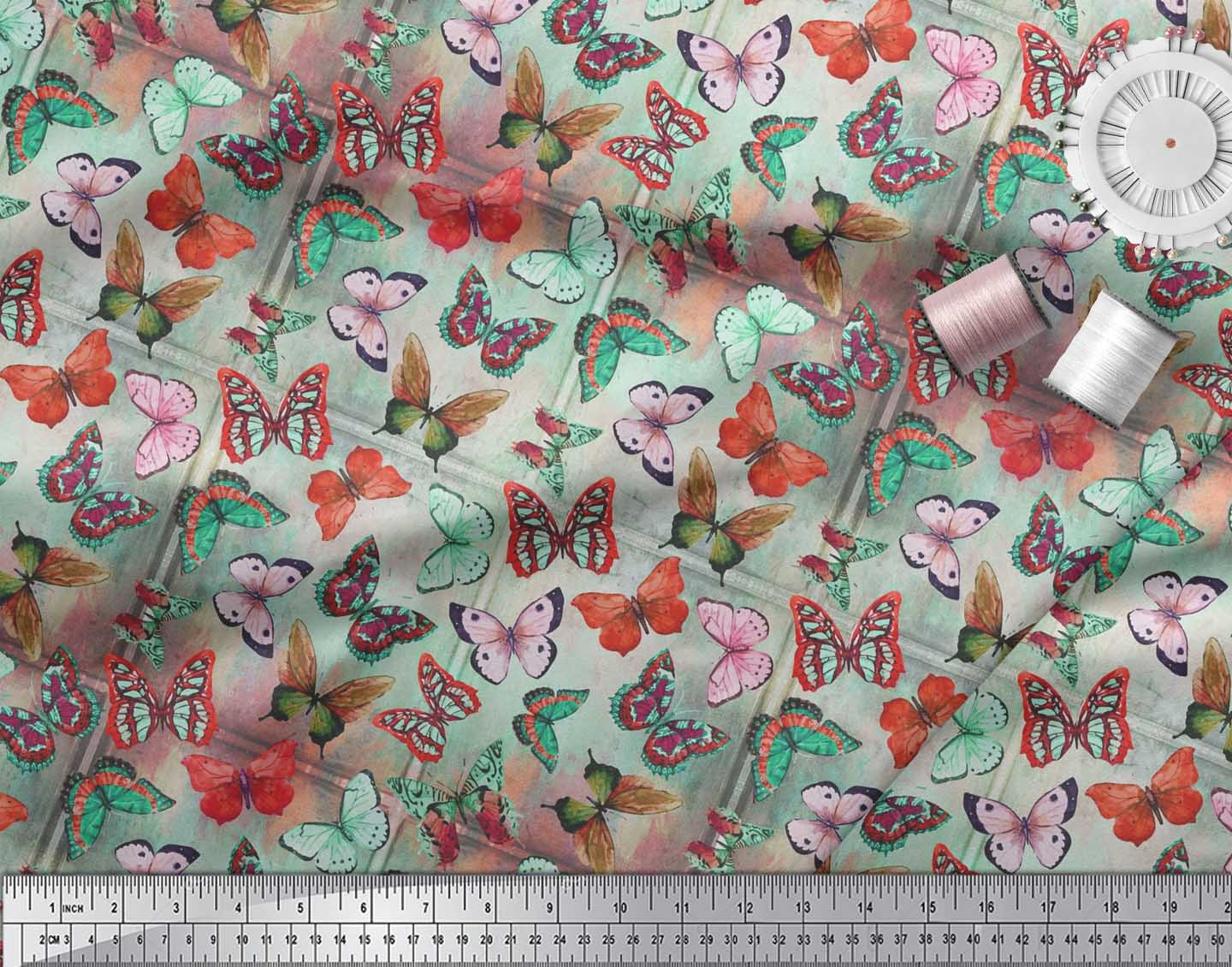 Soimoi-Cotton-Poplin-Fabric-Colorful-Butterfly-Decor-Fabric-Printed-3Fu thumbnail 3