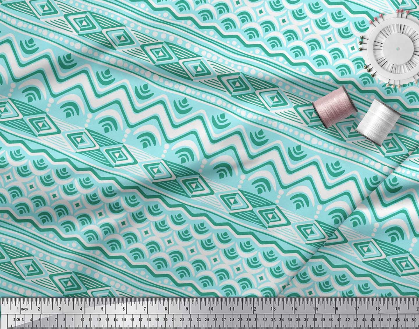 Soimoi-Cotton-Poplin-Fabric-Aztec-Geometric-Print-Fabric-by-the-Se7 thumbnail 4
