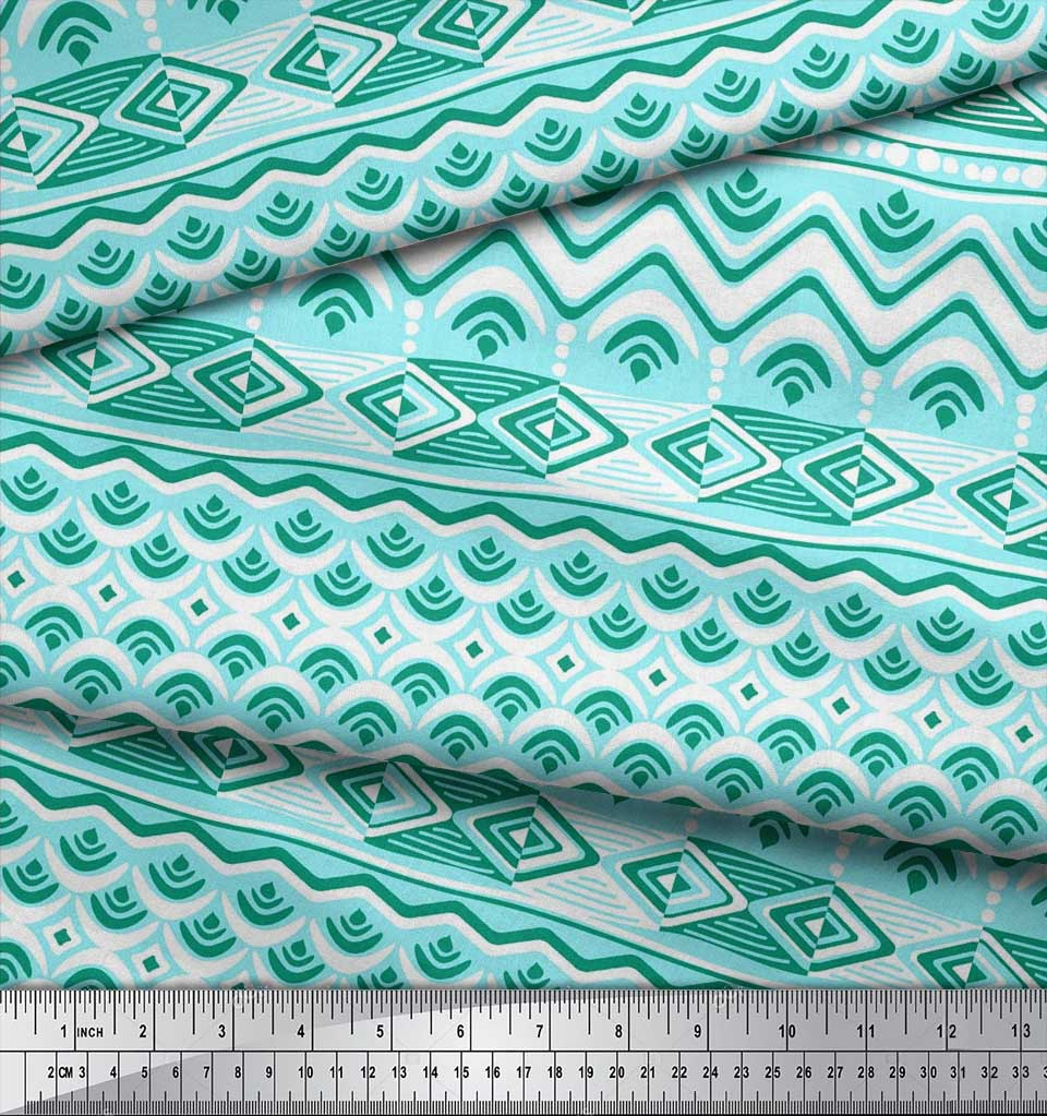 Soimoi-Cotton-Poplin-Fabric-Aztec-Geometric-Print-Fabric-by-the-Se7 thumbnail 3