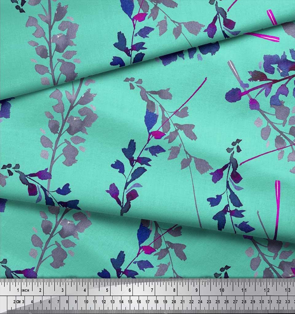 Soimoi-Cotton-Poplin-Fabric-Leaves-Watercolor-Print-Fabric-by-the-oSQ thumbnail 4