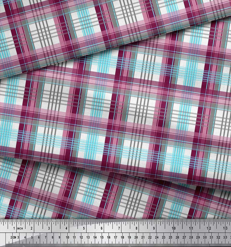 Soimoi-Red-Cotton-Poplin-Fabric-Gingham-Check-Printed-Craft-Fabric-snQ thumbnail 4