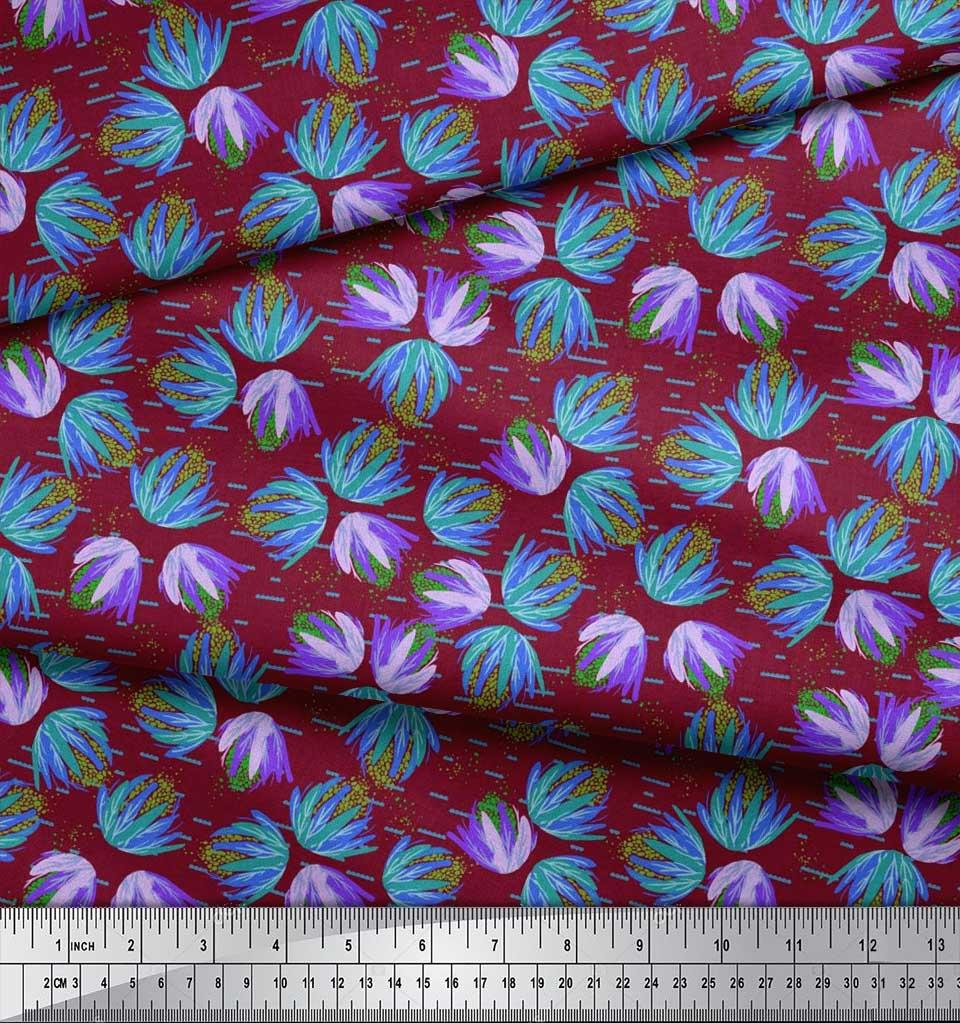 Soimoi-Cotton-Poplin-Fabric-Artistic-Floral-Print-Fabric-by-the-OG8 thumbnail 4