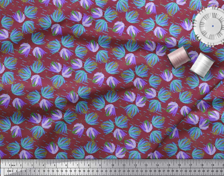 Soimoi-Cotton-Poplin-Fabric-Artistic-Floral-Print-Fabric-by-the-OG8 thumbnail 3