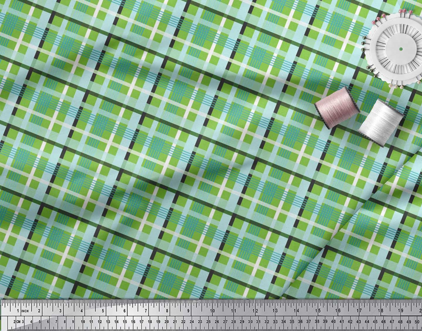 Soimoi-Cotton-Poplin-Fabric-Check-Check-Printed-Craft-Fabric-by-eBK thumbnail 3