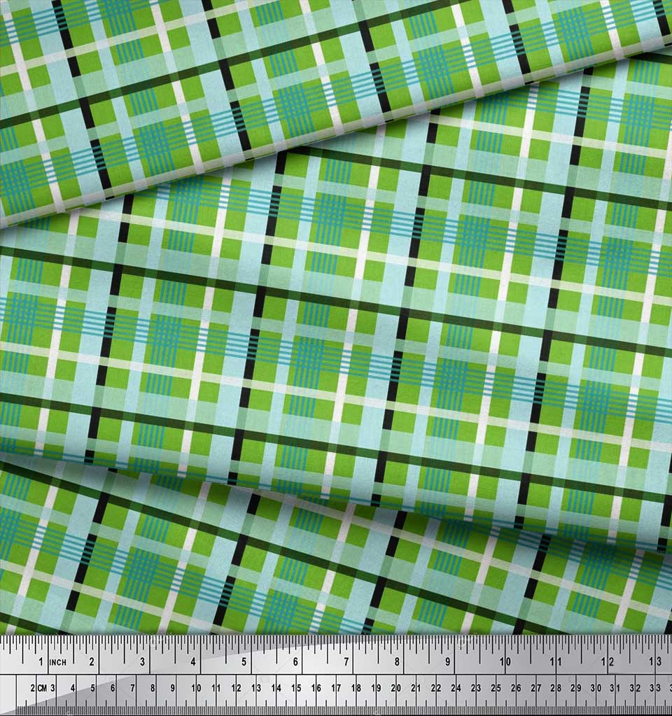 Soimoi-Cotton-Poplin-Fabric-Check-Check-Printed-Craft-Fabric-by-eBK thumbnail 4