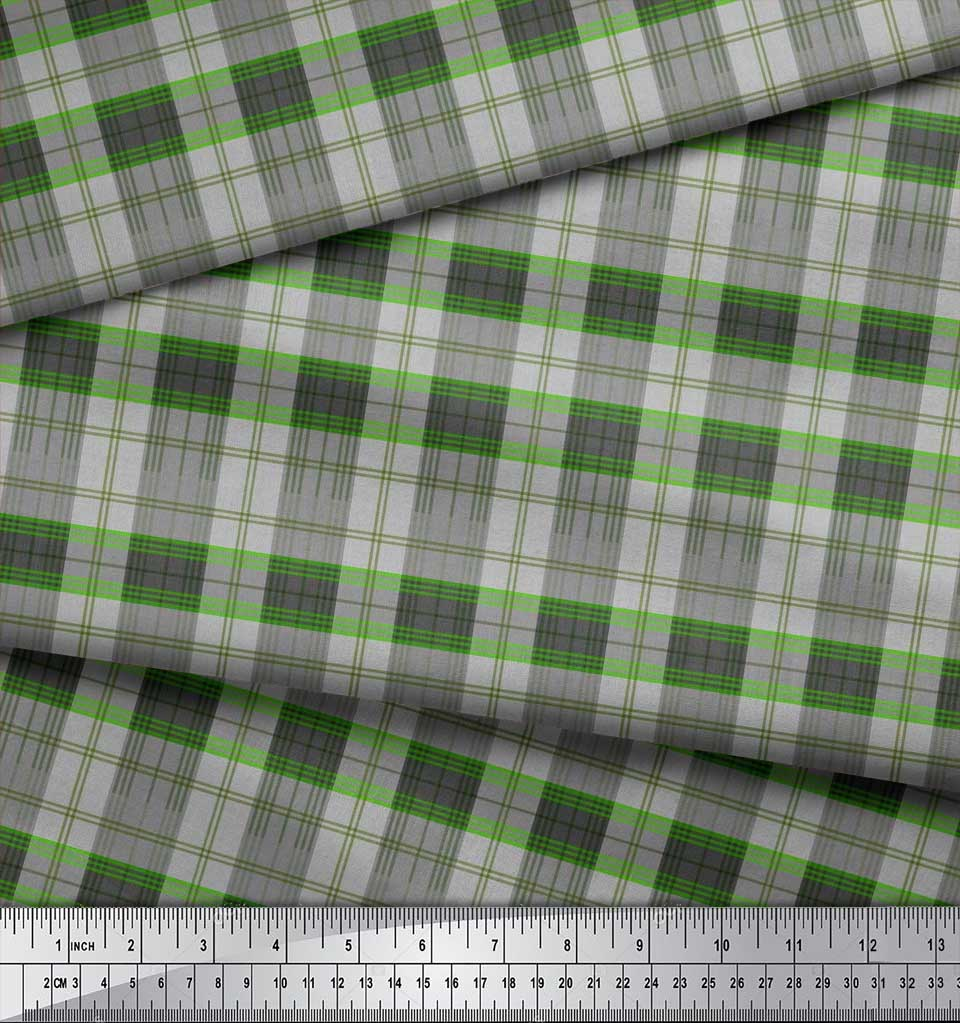 Soimoi-Cotton-Poplin-Fabric-Plaid-Check-Print-Fabric-by-metre-42-N7k thumbnail 3
