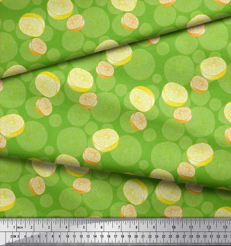 Soimoi-Green-Cotton-Poplin-Fabric-Lemon-Slice-Vegetable-Printed-gui thumbnail 3