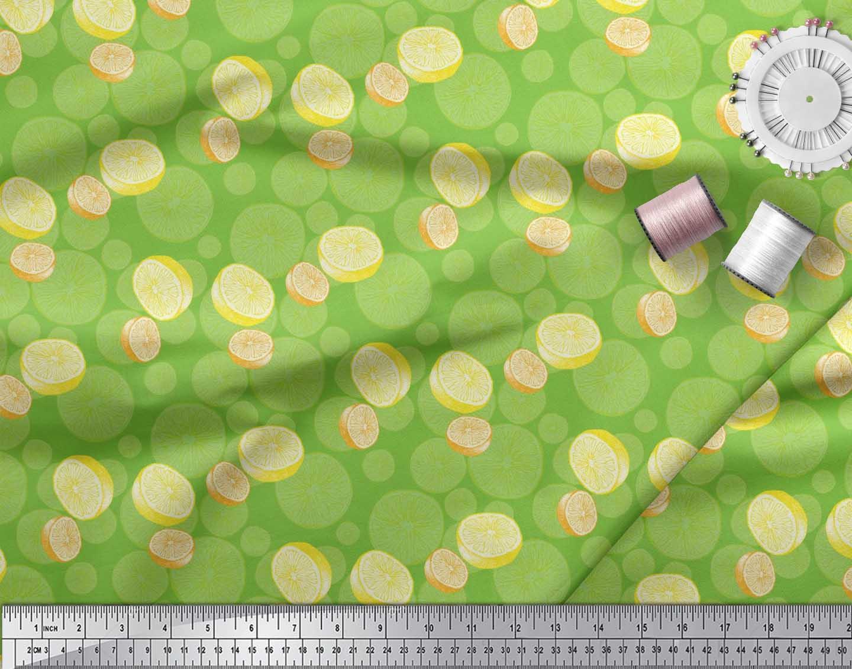 Soimoi-Green-Cotton-Poplin-Fabric-Lemon-Slice-Vegetable-Printed-gui thumbnail 4