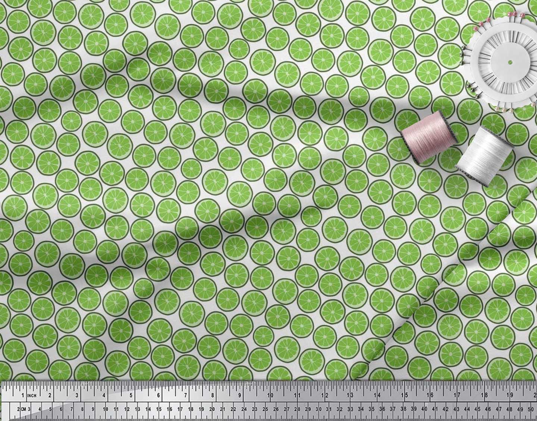 Soimoi-Cotton-Poplin-Fabric-Lemon-Slice-Vegetable-Print-Sewing-Fabric-ixl thumbnail 3