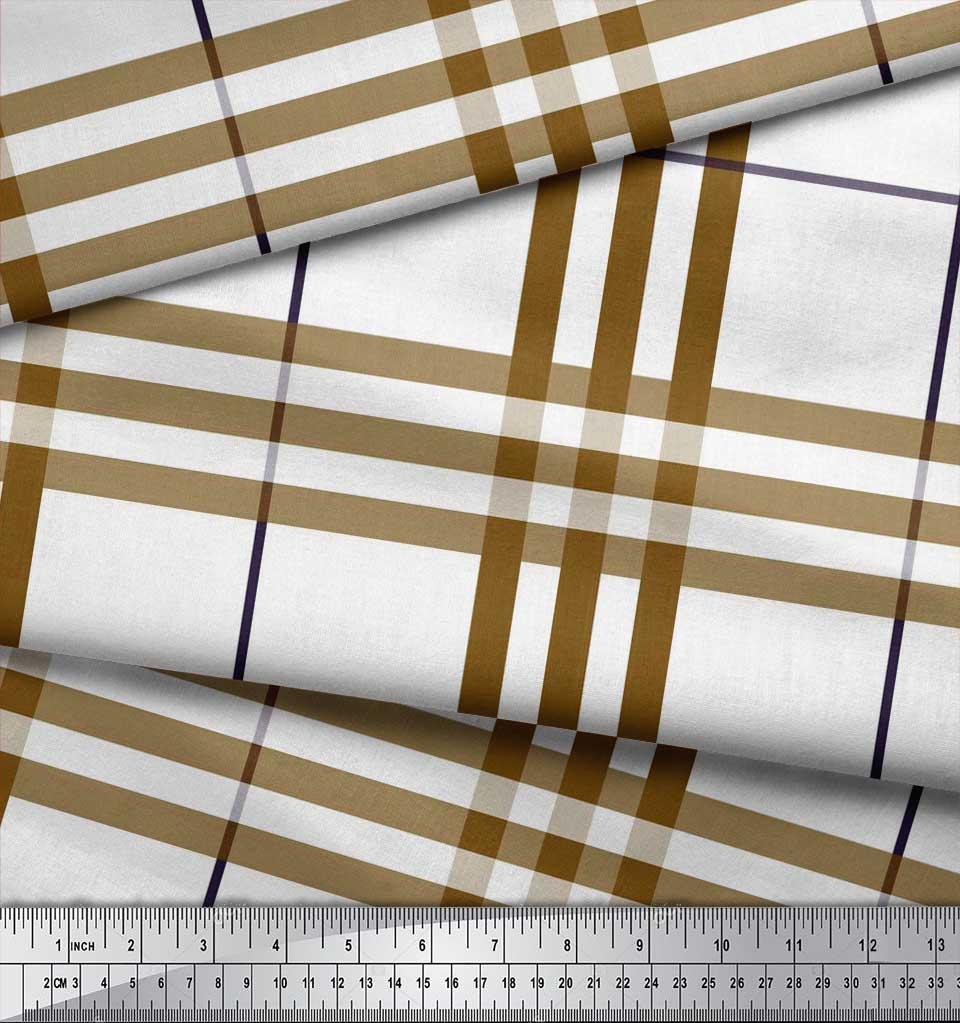 Soimoi-Brown-Cotton-Poplin-Fabric-Gingham-Check-Printed-Craft-Fabric-NQp thumbnail 3