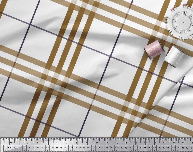 Soimoi-Brown-Cotton-Poplin-Fabric-Gingham-Check-Printed-Craft-Fabric-NQp thumbnail 4