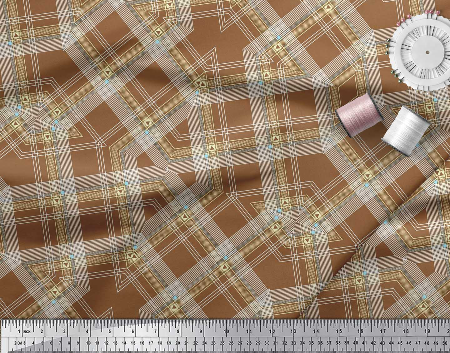 Soimoi-Cotton-Poplin-Fabric-Gingham-Check-Print-Sewing-Fabric-metre-rAF thumbnail 3