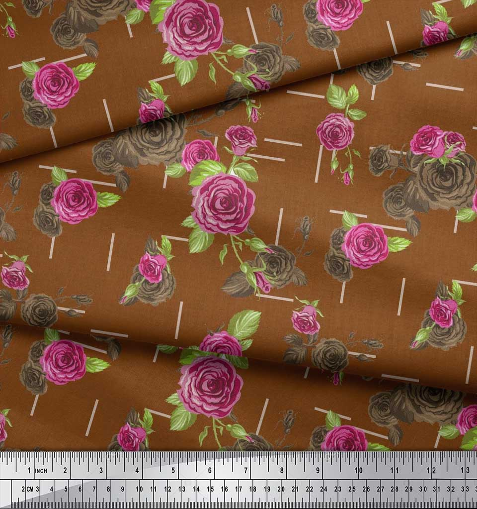 Soimoi-Cotton-Poplin-Fabric-Leaves-amp-Austin-Rose-Floral-Printed-sYl thumbnail 3