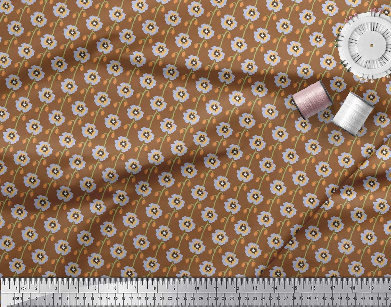 Soimoi-Cotton-Poplin-Fabric-Artistic-Floral-Fabric-Prints-By-metre-QT3 thumbnail 3