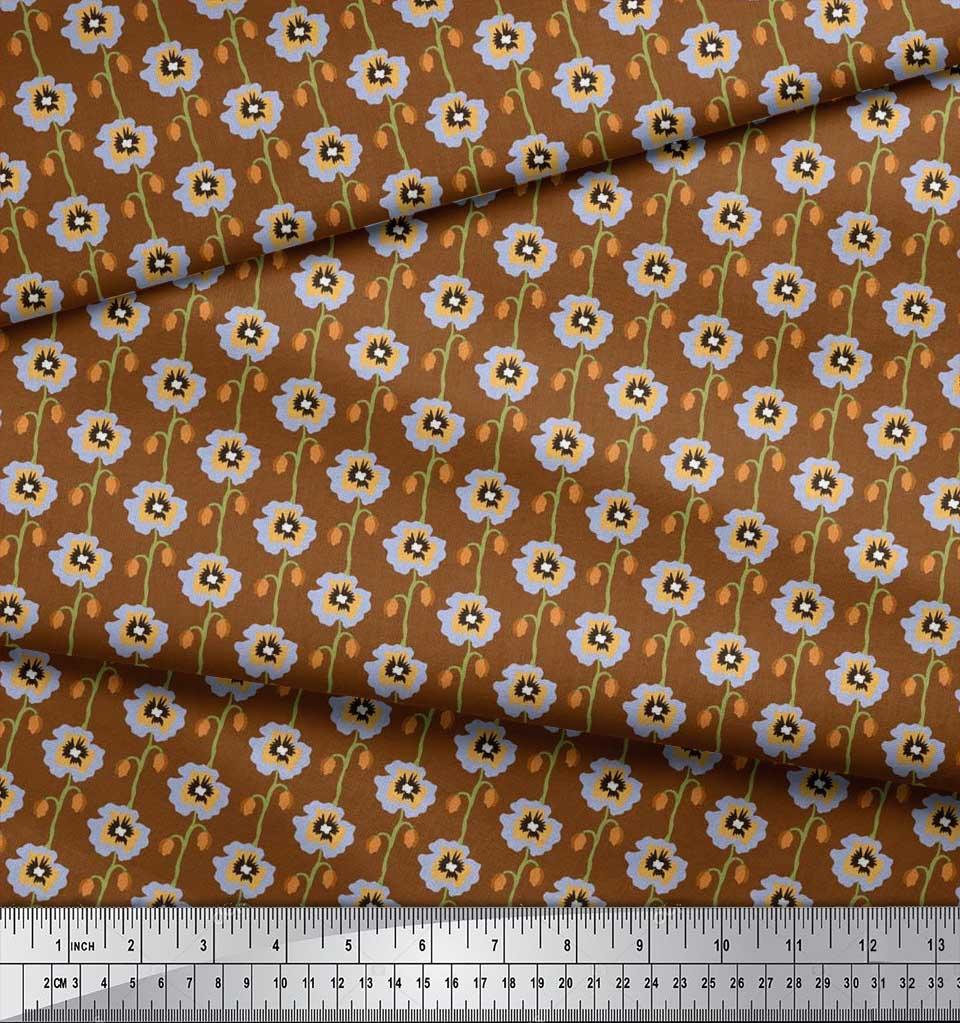 Soimoi-Cotton-Poplin-Fabric-Artistic-Floral-Fabric-Prints-By-metre-QT3 thumbnail 4