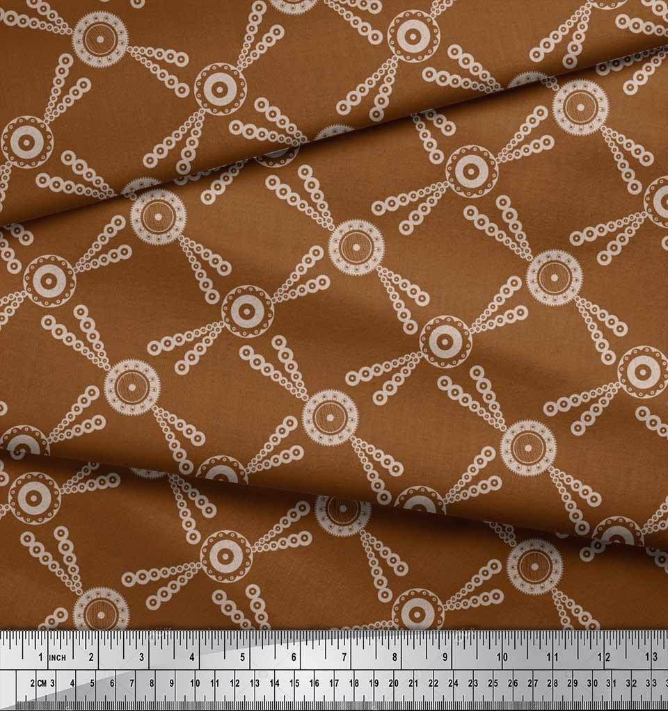 Soimoi-Brown-Cotton-Poplin-Fabric-Dots-amp-Circle-Geometric-Printed-cQH thumbnail 4