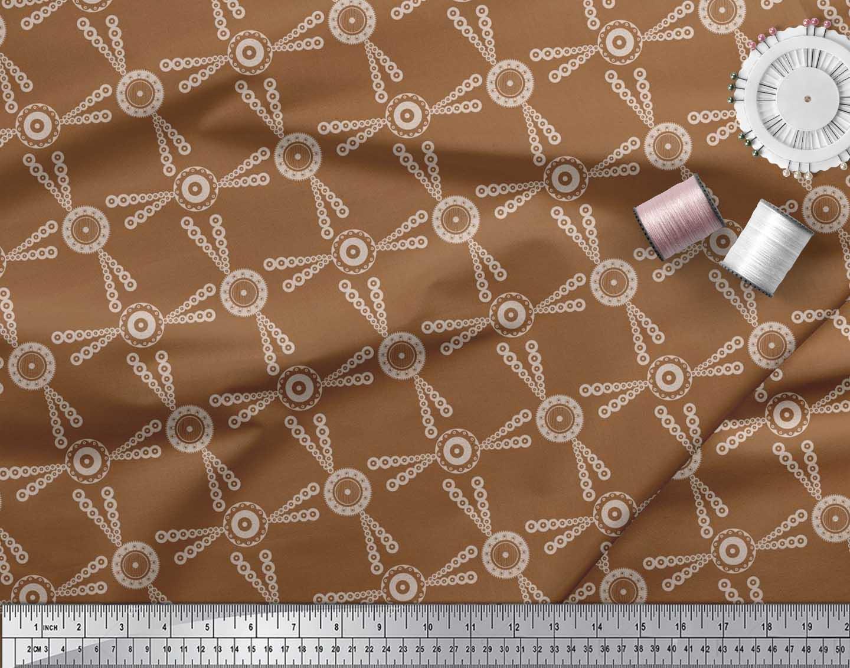 Soimoi-Brown-Cotton-Poplin-Fabric-Dots-amp-Circle-Geometric-Printed-cQH thumbnail 3