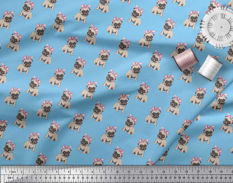 Soimoi-Cotton-Poplin-Fabric-Pug-Dog-Print-Fabric-by-the-metre-42-MXW thumbnail 3